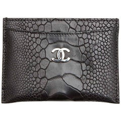 CHANEL Card Holder in Black Ostrich Leg Leather