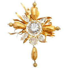 CHRISTIAN LACROIX Vintage Brooch in Gilded Metal and Strass