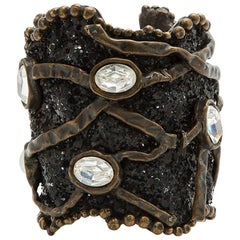 CHRISTIAN LACROIX Vintage Copper-Plated Cuff, Swarovski Glitter and Rhinestones