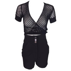 C. 2001 Dolce & Gabbana Black Fishnet Wrap Top & Pin-up High Waist Shorty Shorts