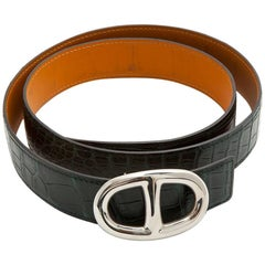 HERMES Men Belt Size 90FR in Dark Green Crocodile Porosus Leather