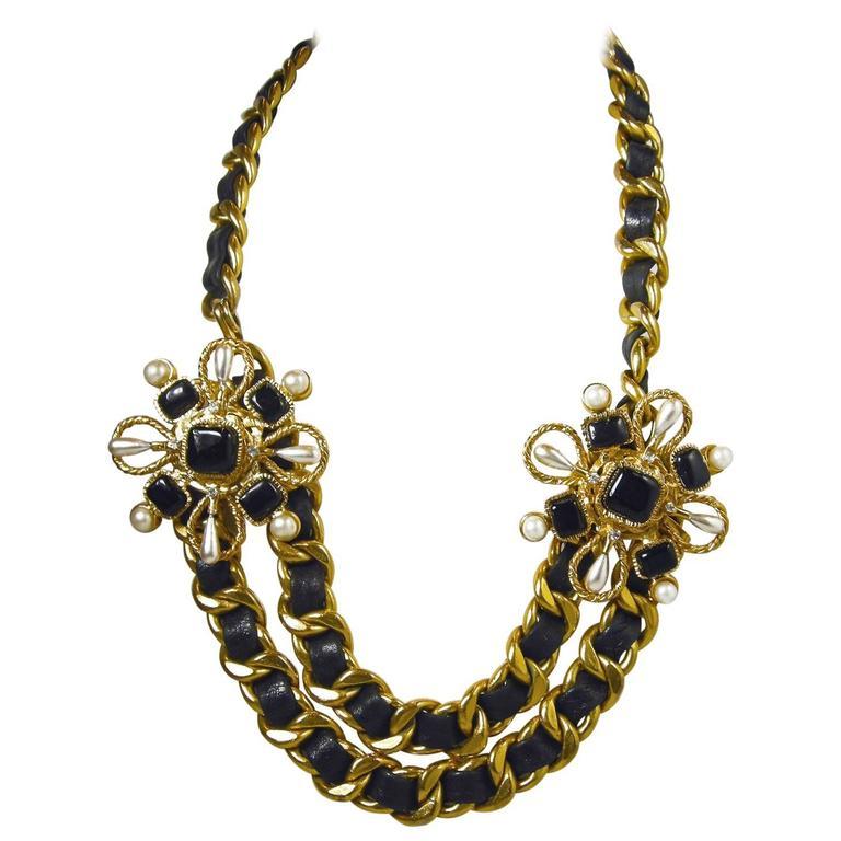 Vintage Couture Chanel Leather Ribbon Gripoix Floral Necklace For Sale