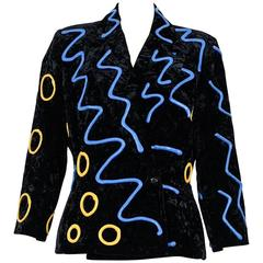 1980s KANSAI YAMAMOTO  rubber patterned velvet jacket