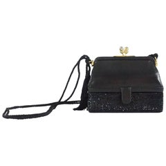 Judith Leiber Black Lizard and Rhinestone Evening Bag