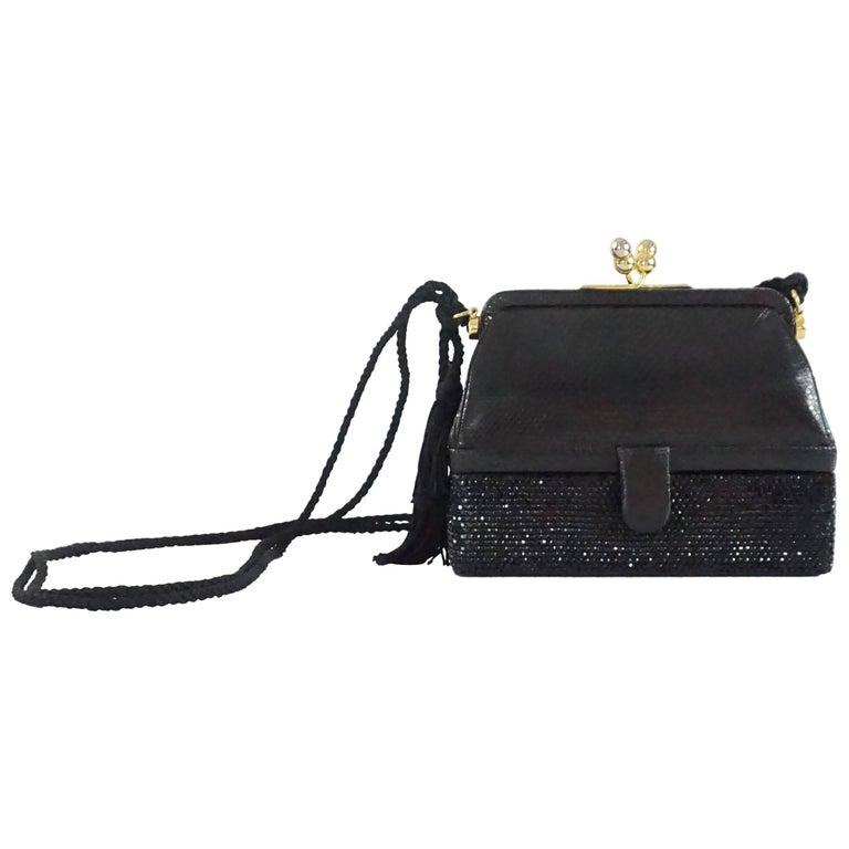 Judith Leiber Black Lizard and Rhinestone Evening Bag  For Sale