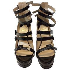 Christian Louboutin Patent Leather Platform Strappy Stilettos