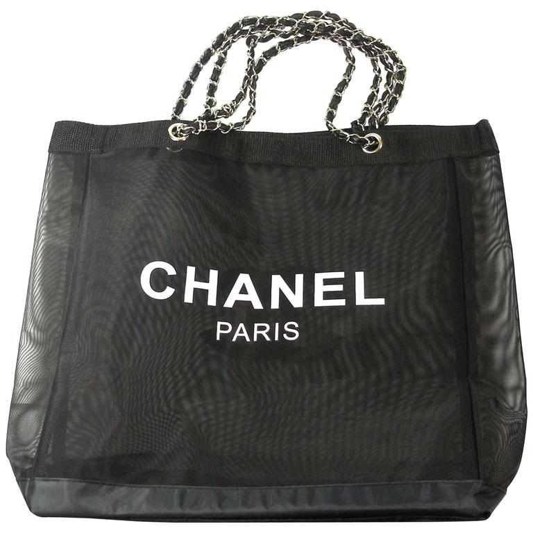 7a8999cd3e42 CHANEL VIP Black Mesh Tote Bag Shopping Travel SHOPPER   BRAND NEW For Sale