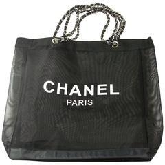 CHANEL VIP Black Mesh Tote Bag Shopping Travel SHOPPER / BRAND NEW