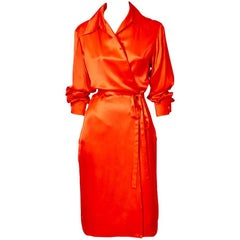 Yves Saint Laurent Silk Charmeuse Wrap Dress