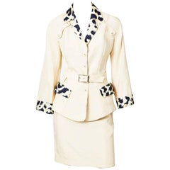 Thierry Muglar Iconic Skirt Suit With Leopard Detail