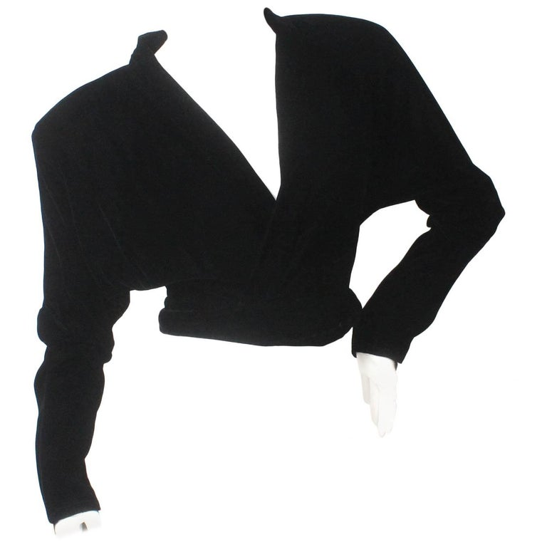 Norma Kamali Black Velvet Wrap Top