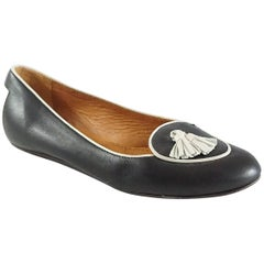Lanvin Black and Ivory Tassel Loafers - 37.5