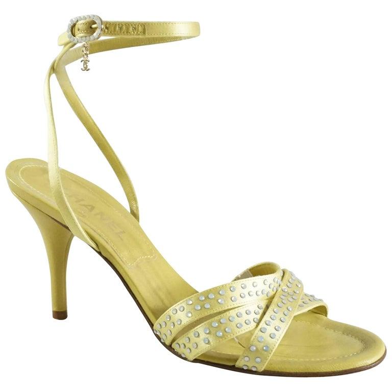 Chanel Yellow Satin and Rhinestone Sandals – 38