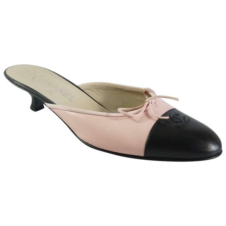 Chanel Pink and Black Cap Toe Slides - 40 For Sale