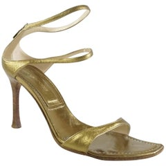 Sergio Rossi Bronze Leather Strappy Heels - 37