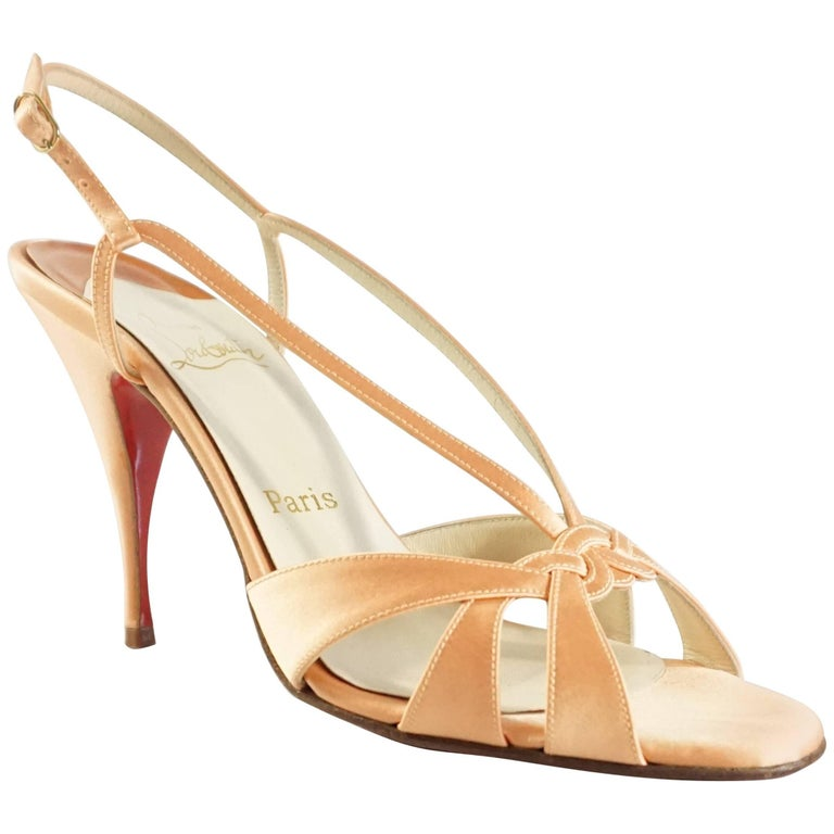 f99f2f2a93cf Christian Louboutin Orange Satin Strappy Heels - 39.5 For Sale at ...