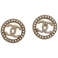 Chanel 2017 Goldtone & Pave Pearl CC Earrings with Box