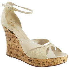 Christian Dior Beige Cork Wedges with Ankle Straps - 42