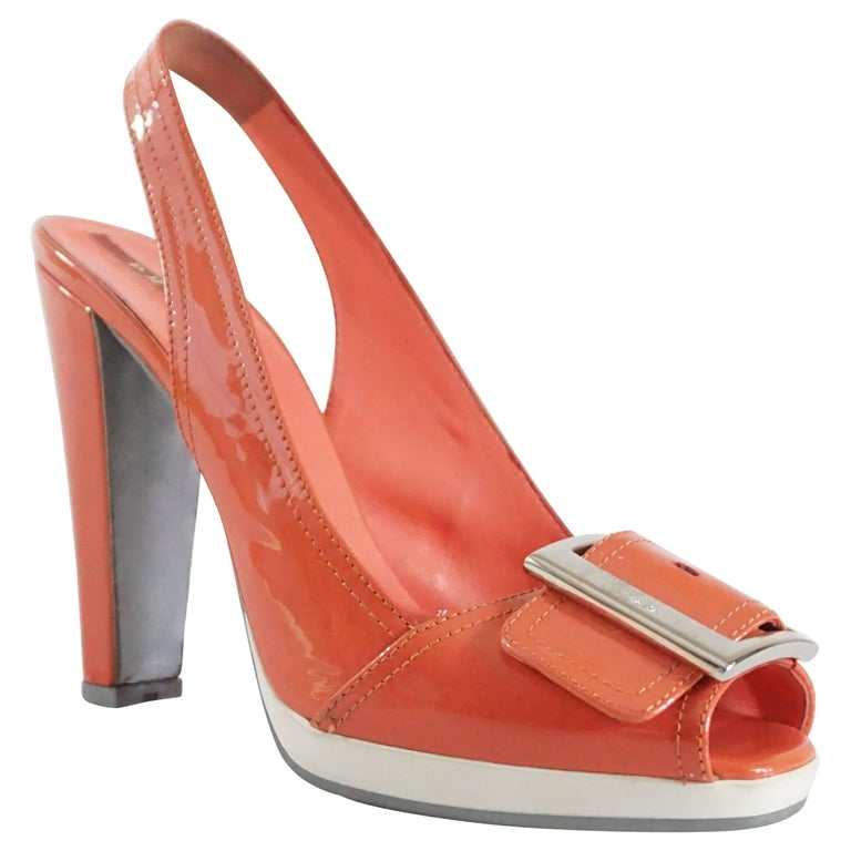 fad31639115 Prada Coral Patent Slingbacks with Buckle - 37.5 For Sale at 1stdibs