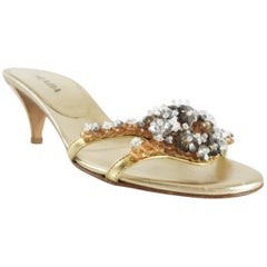 Prada Gold Leather and Floral Beaded Slides - 35.5