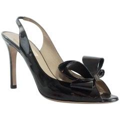 Valentino Black Patent Bow Slingback Heels - 36.5