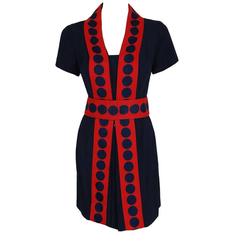 1960's Richard Frontman Navy & Red Silk Linen Graphic Space-Age Belted Dress For Sale