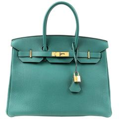 Hermès Malachite Green Togo 35 cm Birkin Bag with Gold HW