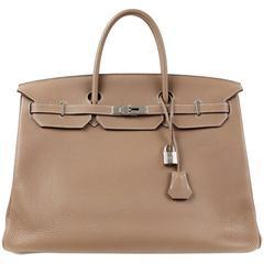 Hermès Etoupe Clemence 40 cm Birkin Bag PHW