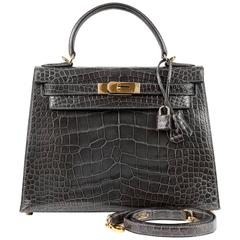Hermès Graphite Alligator 28 cm Kelly Bag GHW