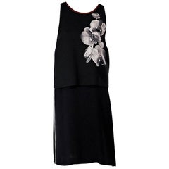 Black Fendi Floral-Printed Overlay Dress