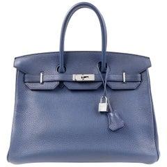 Hermès Indigo Blue Togo 35 cm Birkin Bag PHW