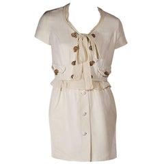 Cream Moschino Cheap + Chic Short-Sleeve Dress