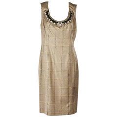 Tan Carolina Herrera Embellished Plaid Dress