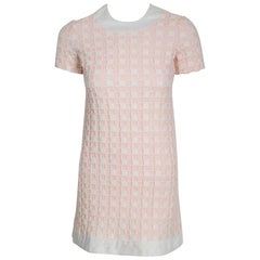 1966 Pierre Cardin Paris Pink & White Textured Cotton Space-Age Mod Mini Dress