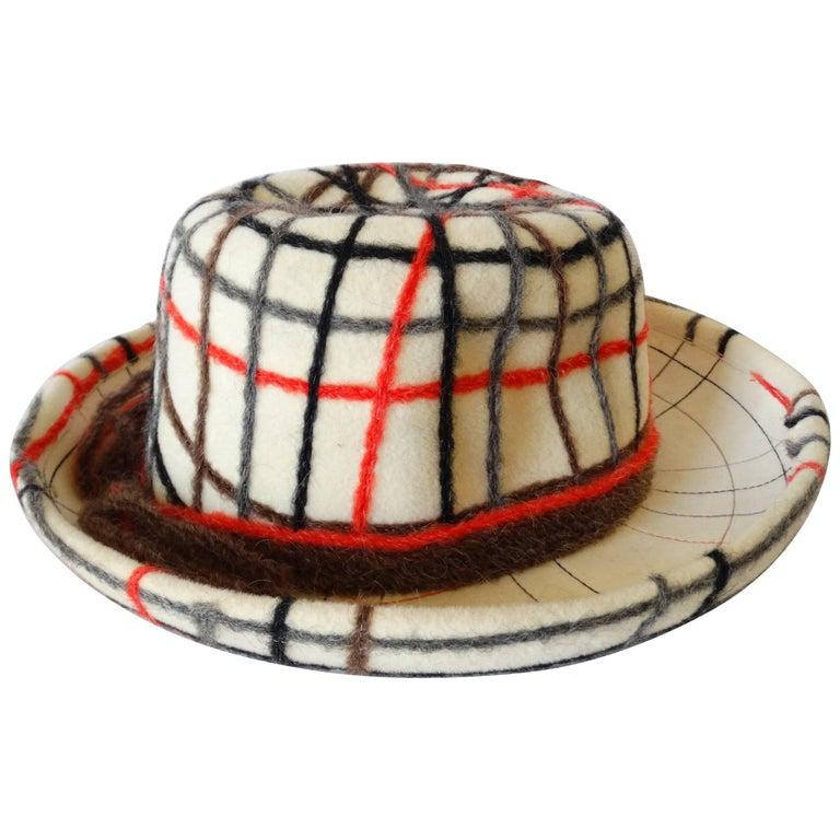 Yves Saint Laurent Wool Plaid Chapeau  For Sale