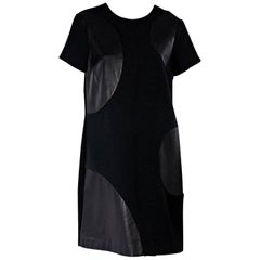 Black Raoul Leather-Accented Shift Dress