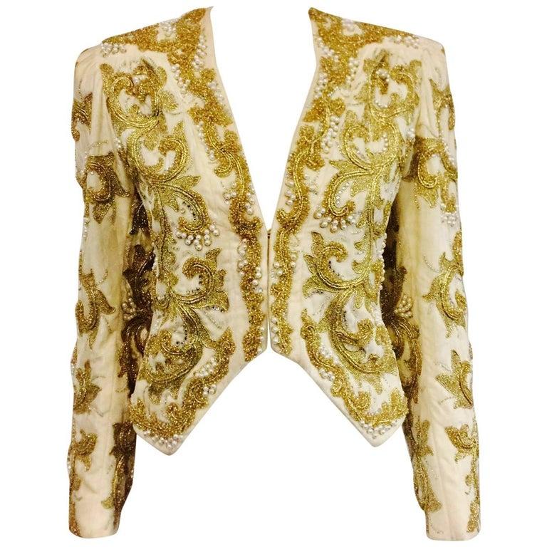 Amazing Adolfo Ivory Velvet Jacket With Enthralling Gold Tone Bead Motifs