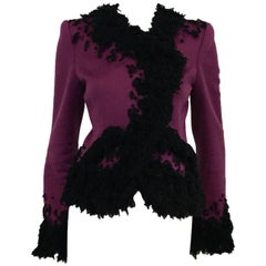 Oscar de la Renta Violet Cashmere Jacket with Black Boucle Embroidery