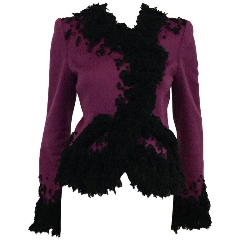Oscar de la Renta Violet Cashmere Jacket with Black Boucle Embroidery