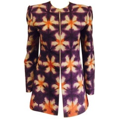 Mary McFadden's Purple/Orange and Beige Collarless Jacket