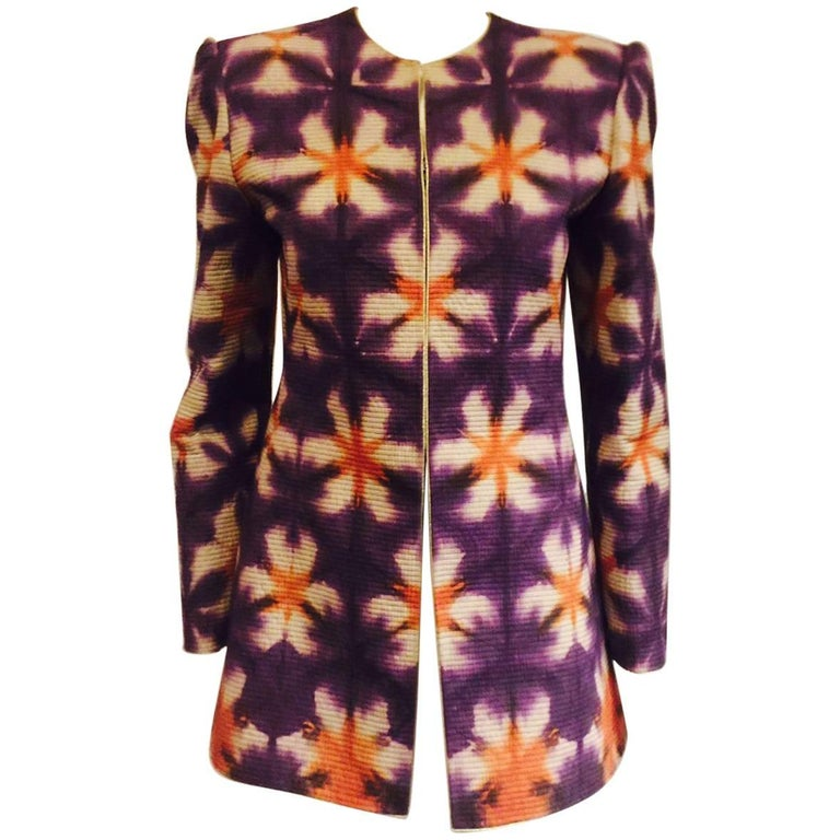 Mary McFadden's Purple/Orange and Beige Collarless Jacket