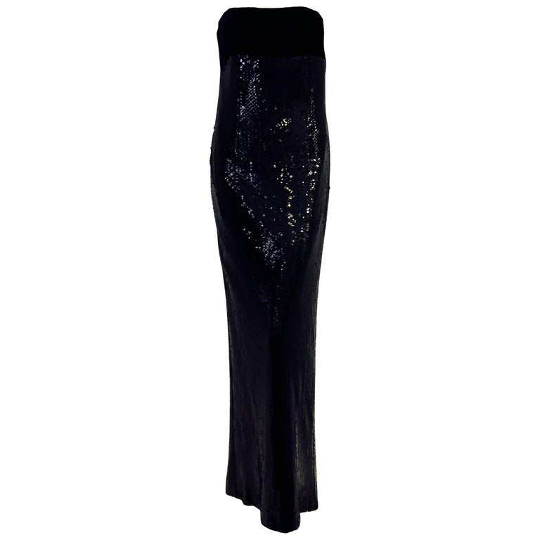 Bill Blass 1980's Dramatic Sequins and Velvet Black Column Gown
