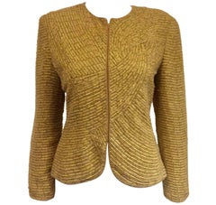 Magnificent Mary McFadden Couture Vintage Beige/Mustard Beaded Jacket