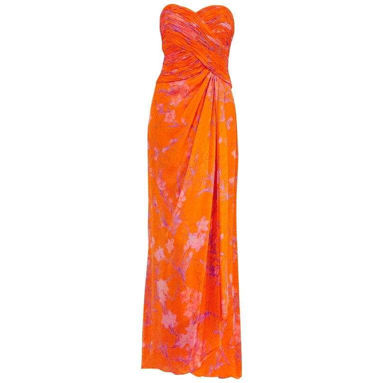 Liancarlo Lovely Mandarin Orange Floral Silk Chiffon Gown With Long Scarf