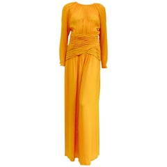 Oscar de la Renta Mango Chiffon Evening Jumpsuit With Flared Legs