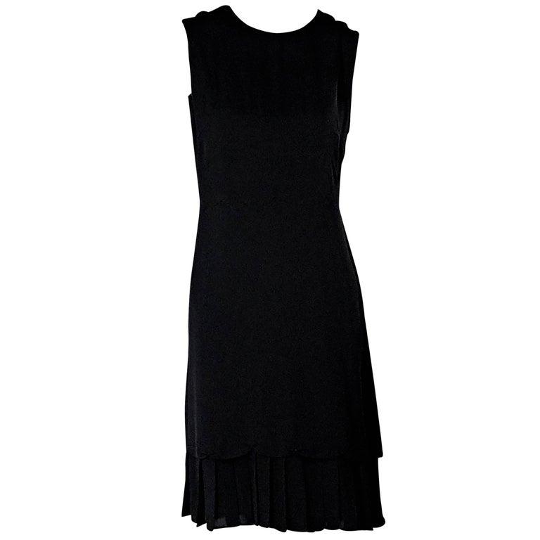 Black Prada Pleated-Hem Sheath Dress