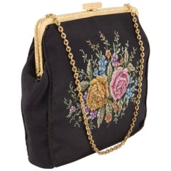 1930s Rare Black Silk Embroidered Evening Clutch