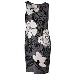 Grey Carolina Herrera Embroidered Sheath Dress