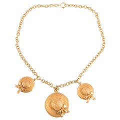 1980s Iconic Chanel Runaway Straw Hats Necklace