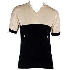 Tan & Black Vintage Chanel Short-Sleeve Knit Top